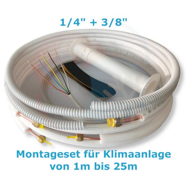 """Montage Set für Klimaanlage Kältemittelleitung 1/4""""+ 3/8"""", 1 - 25 Meter 2 m"""