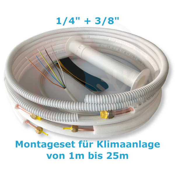 """Montage Set für Klimaanlage Kältemittelleitung 1/4""""+ 3/8"""", 1 - 25 Meter 15 m"""