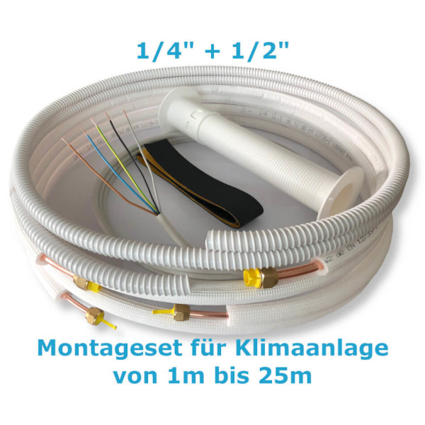 """Montage Set für Klimaanlage Kältemittelleitung 1/4""""+ 1/2"""", 1 - 25 Meter"""