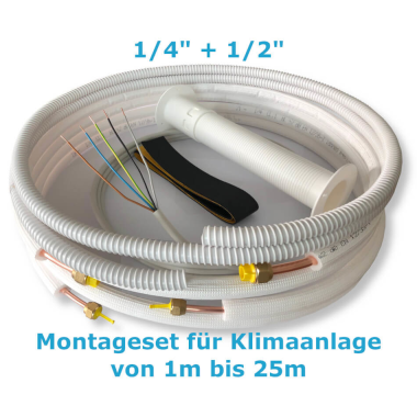 """Montage Set für Klimaanlage Kältemittelleitung 1/4""""+ 1/2"""", 1 - 25 Meter 4m"""