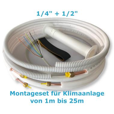 """Montage Set für Klimaanlage Kältemittelleitung 1/4""""+ 1/2"""", 1 - 25 Meter 11m"""
