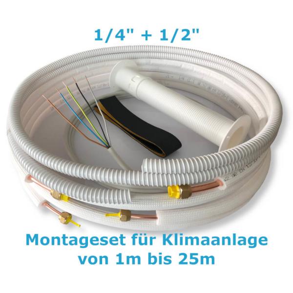 """Montage Set für Klimaanlage Kältemittelleitung 1/4""""+ 1/2"""", 1 - 25 Meter 12m"""