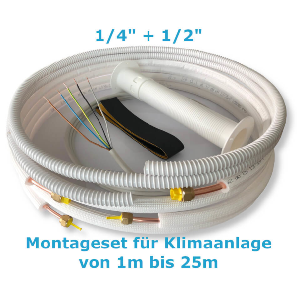 """Montage Set für Klimaanlage Kältemittelleitung 1/4""""+ 1/2"""", 1 - 25 Meter 23m"""