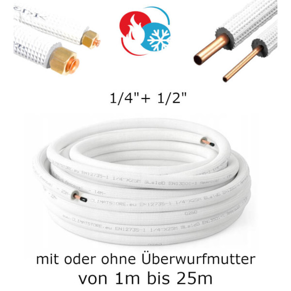 "Kältemittelleitung Kupferrohr 1/4"" + 1/2"" Kupfer isoliert"