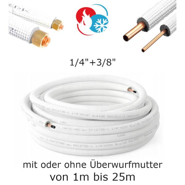 "Kältemittelleitung Kupferrohr 1/4"" + 3/8"" Kupfer isoliert"