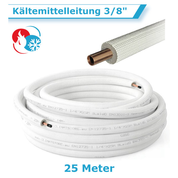 """Klimaanlage Kältemittelleitung 3/8"""" 25 Meter"""
